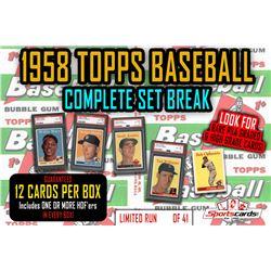 1958 Topps Baseball Complete Set Break Mystery BOX – 12 Cards Per Box!