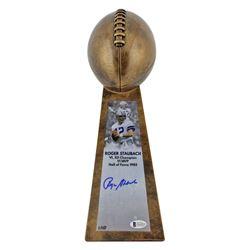 "Roger Staubach Signed LE Cowboys 15"" Lombardi Football Championship Trophy (Beckett COA)"