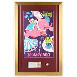 "Disneyland Fantasyland's ""Dumbo Carousel"" 17x26 Custom Framed Poster Print Display with Vintage Tick"