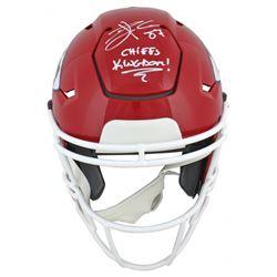 "Travis Kelce Signed Chiefs Full-Size Authentic On-Field SpeedFlex Helmet Inscribed ""Chiefs Kingdom!"""