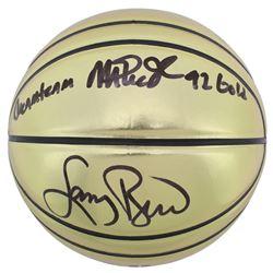 "Larry Bird  Magic Johnson Signed Molten Basketball Inscribed ""Dream Team""  ""92 Gold"" (Beckett COA)"