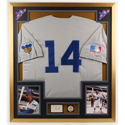 Ernie Banks Signed Cubs 32x36 Custom Framed Cut Display with Pin (PSA COA)