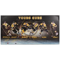 Charlie McAvoy  Matt Grzelcyk Signed Bruins 19x39 Photo On Canvas (YSMS COA  McAvoy Hologram)