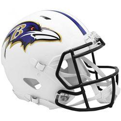 Ravens Full-Size Authentic On-Field Matte White Speed Helmet