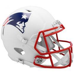 Patriots Full-Size Authentic On-Field Matte White Speed Helmet