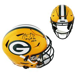 """Aaron Rodgers Signed Packers Full-Size Authentic On-Field SpeedFlex Helmet Inscribed """"King of the No"""