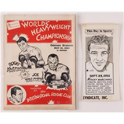 Lot of (2) Rocky Marciano Boxing Items with 1953 Fight Promotional Folder  1967 Original Newspaper A