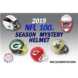 Schwartz Sports 2019 NFL 100th Season Current Superstar Signed Full Size Football Helmet Mystery Box
