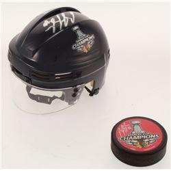 Lot of (2) Brandon Saad Signed Blackhawks Stanley Cup Championship Hockey Items with 2013 Logo Hocke