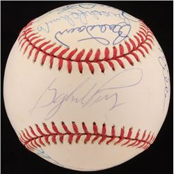 Hall Of Famers OAL Baseball Signed by (13) with Gaylord Perry, Johnny Mize, Hoyt Wilhelm, Jim Hunter