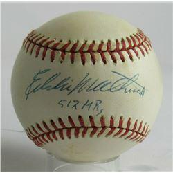 "Eddie Mathews Signed ONL Baseball Inscribed ""512 HRs"" (JSA COA)"