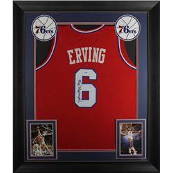 """Julius """"Dr. J"""" Erving Signed 32x37 Custom Framed Jersey Display (PSA COA)"""