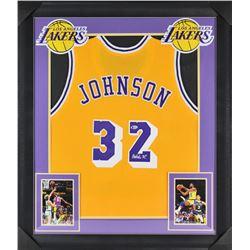 Magic Johnson Signed 32x37 Custom Framed Jersey Display (Beckett COA)