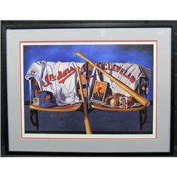 "Bob Feller Signed Indians 28x36 Custom Framed Photo Display Inscribed ""HOF 62"" (JSA COA)"