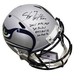 Shaun Alexander Signed Seattle Seahawks Full-Size AMP Alternate Speed Helmet with Multiple Career St
