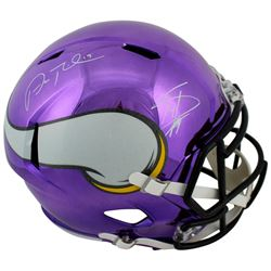 Adam Thielen  Stefon Diggs Signed Vikings Chrome Speed Full-Size Helmet (Beckett COA)