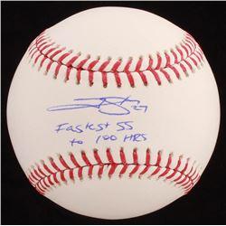 """Trevor Story Signed OML Baseball Inscribed """"Fastest SS To 100 HRs"""" (JSA COA)"""