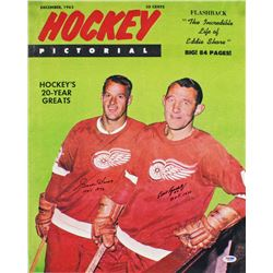 "Gordie Howe  Bill Gatsby Signed Red Wings 16x20 Photo Inscribed ""HOF 1972""  ""HOF 1970"" (PSA COA)"