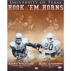 Earl Campbell  Ricky Williams Signed Texas Longhorns Hook 'Em Horns 16x20 Photo (PSA COA)