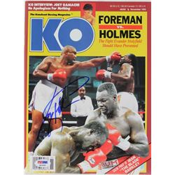 Larry Holmes Signed 1992 Knockout Boxing Magazine (PSA COA)
