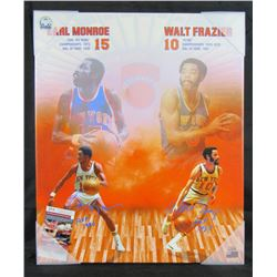 "Walt Frazier  Earl Monroe Signed 20x24 Knicks Framed Canvas Inscribed ""HOF 1987""  ""HOF 1990"" (JSA CO"