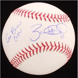 "Zach Davies Signed OML Baseball Inscribed ""Go Brew Crew"" (PSA COA)"