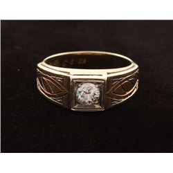 14KT Tri-Color Gold Gent Diamond Ring
