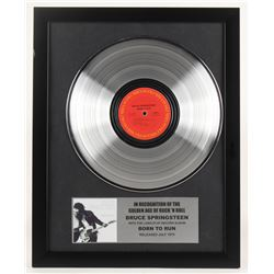 "Bruce Springsteen 15.75x19.75 Custom Framed Silver Plated ""Born To Run"" Record Album Award Display"