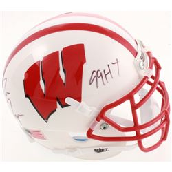 "Ron Dayne Signed Wisconsin Badgers Mini Helmet Inscribed ""99HT"" (JSA COA)"