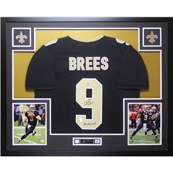 """Drew Brees Signed 35x43 Custom Framed Jersey Display Inscribed """"SB XLIV MVP"""" (Beckett COA  Brees Hol"""
