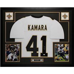 Alvin Kamara Signed 35x43 Custom Framed Jersey (JSA COA)