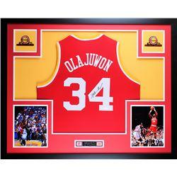 Hakeem Olajuwon Signed 35x43 Custom Framed Jersey (JSA COA)