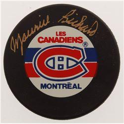 Maurice Richard Signed Canadiens Logo Hockey Puck (PSA COA)