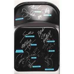 Black Metal Folding Chair Signed by (11) with Damien Sandow, Santino Marella, Brodus Clay, Mick Fole
