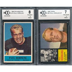 Lot of (2) BCCG Graded Paul Hornung Football Cards with 1964 Philadelphia #74 Paul Hornung (BCCG 8)