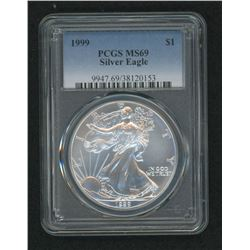1999 American Silver Eagle $1 One-Dollar Coin (PCGS MS69)