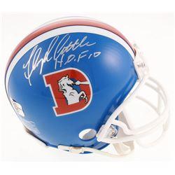 """Floyd Little Signed Broncos Mini Helmet Inscribed """"H.O.F 10"""" (Jersey Source Hologram)"""