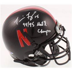 "Tommie Frazier Signed Nebraska Cornhuskers Mini-Helmet Inscribed ""94/95 Nat'l Champs"" (Beckett COA)"