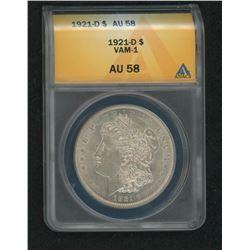 1921-D Morgan Silver Dollar, VAM-1 (ANACS AU58)