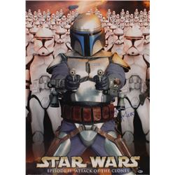 """Temuera Morrison Signed """"Star Wars: Attack Of The Clones"""" 25x36 Movie Poster Inscribed """"Jango Fett"""""""