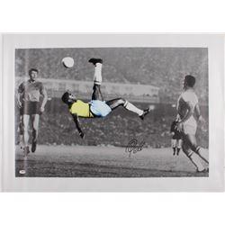 Pele Signed Team Brazil 25.5x35.25 Print on Canvas (PSA COA)