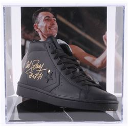 """Bob Cousy Signed Vintage Converse Basketball Shoe with Display Case Inscribed """"HOF 71"""" (PSA COA)"""