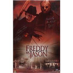 "Ken Kirzinger  Robert Englung Signed ""Freddy vs. Jason"" 22.5x34.5 Movie Poster Inscribed ""Freddy Win"