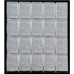 Lot of (20) 1 Gram Silver Valcambi Mint Bullion Bars