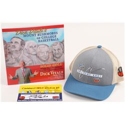 """Lot of (3) Dick Vitale Signed Assorted Items with (1) Adjustable Hat, (1) 4x6 Flat,  (1) """"Dick Vital"""