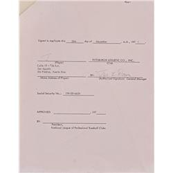 Joe Brown Signed Pension Contract (Lelands LOA)