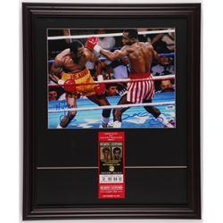 "Thomas ""Hitman"" Hearns  Sugar Ray Leonard Signed 18.5x22.5 Custom Framed Photo Display with Original"