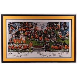 Steelers Hall of Famers  Stars 29x45 Custom Framed Lithograph Signed by (50) with Terry Bradshaw, Ch