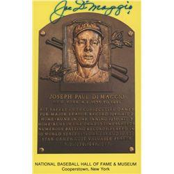 Joe DiMaggio Signed Gold Hall of Fame Plaque Postcard (JSA LOA)