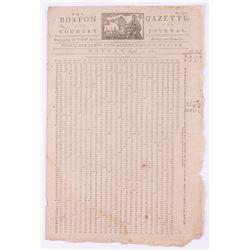 1781 The Boston Gazette  Country Journal 15x19.5 Vintage Charlestown Lottery Newspaper